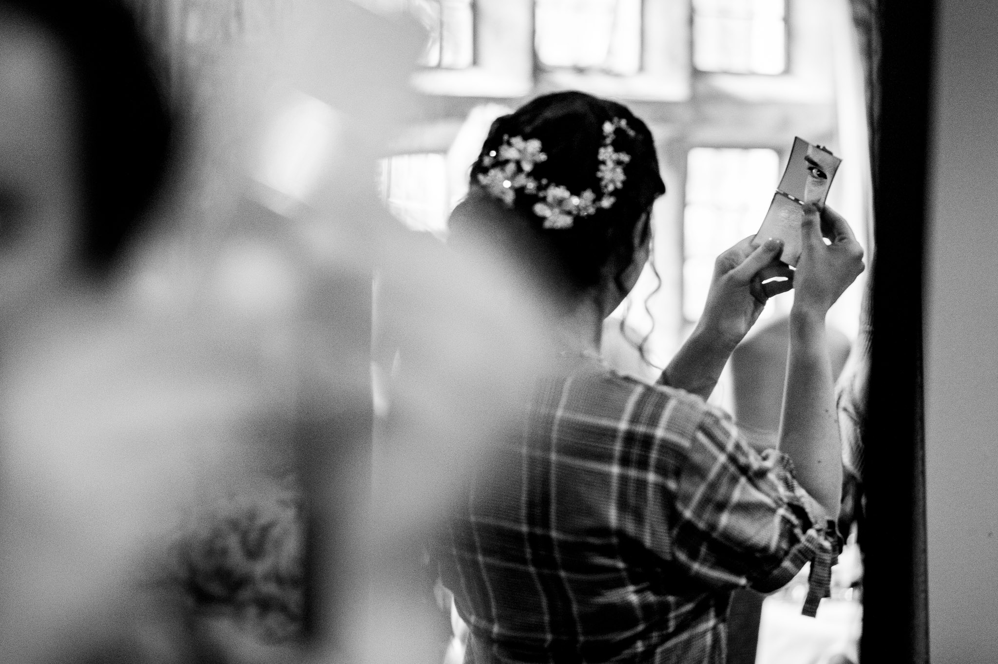 Looking in the mirror - Holdsworth House wedding photographer