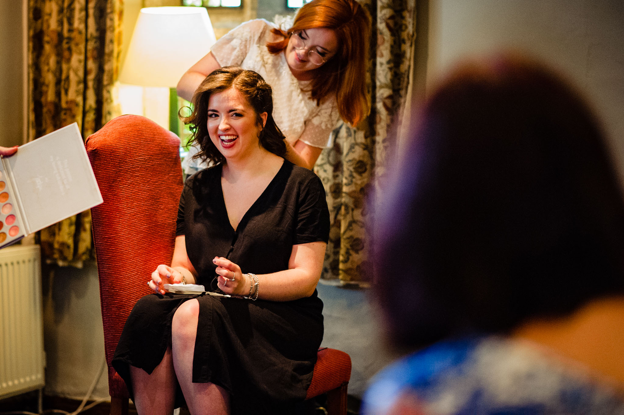 Laughter during hair and make-up