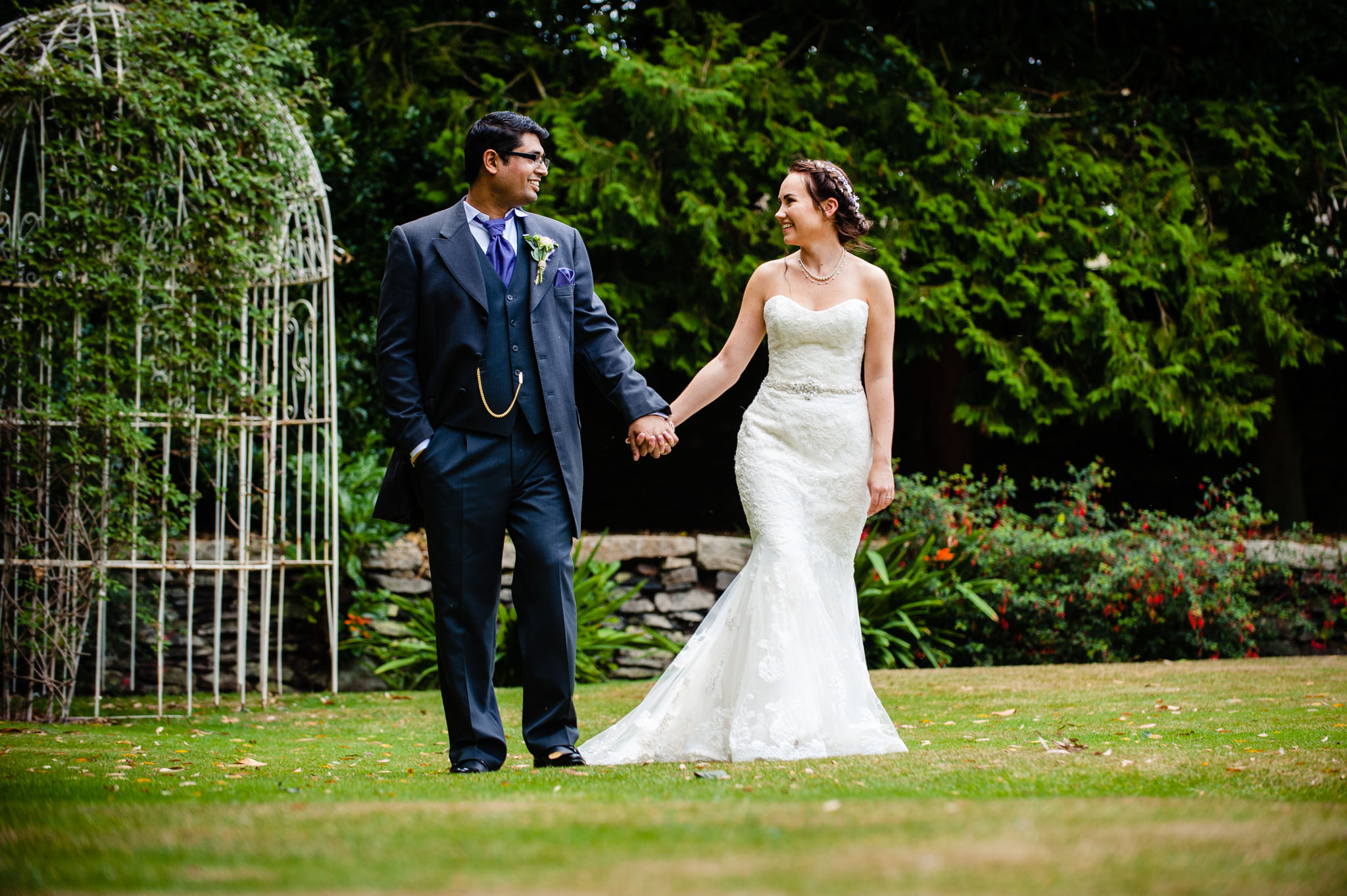 Taking a stroll at Holdsworth House - Holdsworth House Wedding Photographer