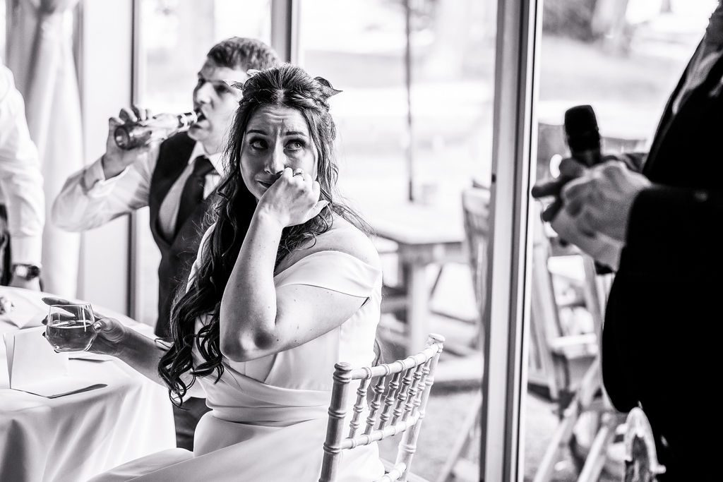 Bride begins to cry during her father's speech